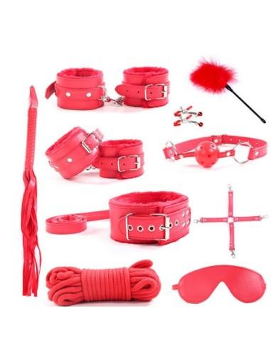 Set bondage rojo10 piezas